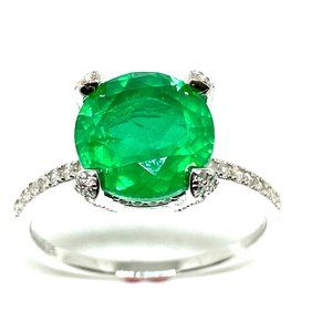 WHITE GOLD OVER SILVER PAVE SOLITAIRE EMERALD RING